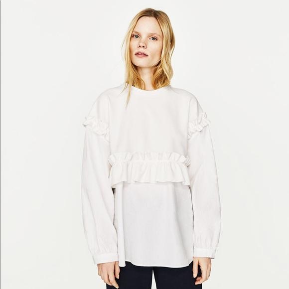 3aca537a Zara Tops | Nwt Contrasting Frilled Sweatshirt Blouse Top | Poshmark